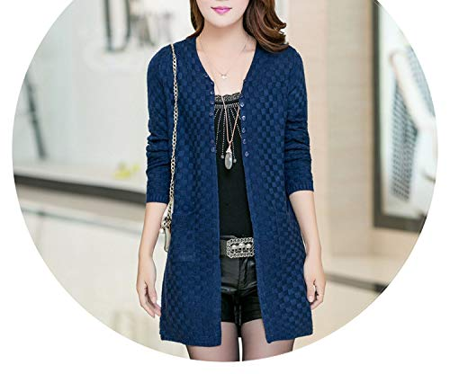 Women's Clothing Soft and Comfortable Coat Knitted V-Neck Long Cardigan Female Sweater Jacket,Blue,XXL