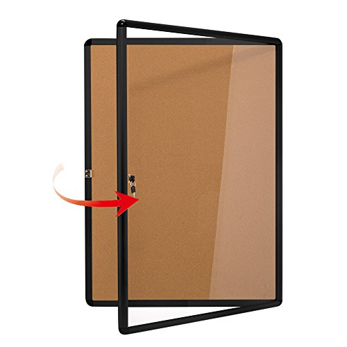 Swansea Lockable Noticeboard Bulletin Pink Cork Boards Tamper Proof with Mounting Screws 26×20 inch (4xA4)