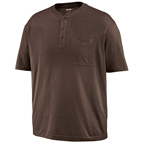 Wolverine Men's Knox Short Sleeve Pocketed Wicking Henley T-Shirt, Bison Heather, X-Large -