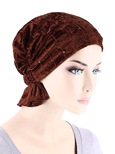 Abbey Cap Womens Chemo Hat Beanie Scarf Turban Headwear for Cancer Stretch Velour Sequin Cinnamon Spice -