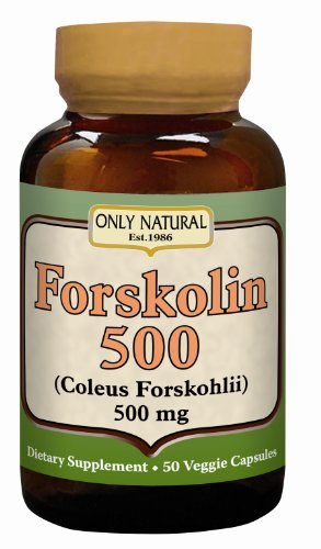 Only Natural Nutritional Veggie Capsules, Forskolin 500, 50 Count