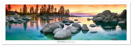 Award Winning Landscape Panoramic Art Print Poster: Lake Tahoe Sunset Panoramic Poster