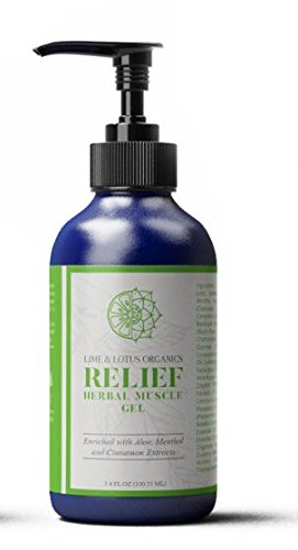 Lime and Lotus Organics - Relief Herbal Muscle Gel - with Aloe, Menthol, Cinnamon and Ginger Extracts - Natural Joint and Muscle Relief with a Custom Blend of 20 Different Essential Oils.