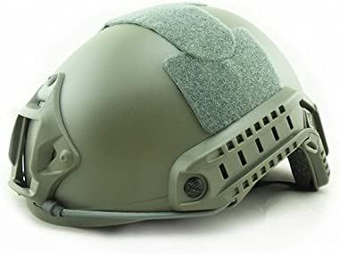This is an image of a tactical helmet with side rails, olive green color.