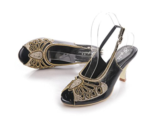 SHFANG Sandalias de mujer Amoi Rhinestones Bohemia Talón fino Diamante insertar boca de pescado banquete partido negro 8 cm black (fine heel)
