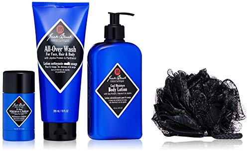 Jack Black - Clean & Cool Body Basics Set - All-Over Wash for Face, Hair & Body, Pit Boss Antiperspirant & Deodorant, Cool Moisture Body Lotion, Deluxe Black Netted Sponge, Wax Canvas Carry Bag