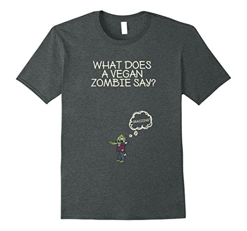 Mens Sarcastic Vegan Zombie Halloween Tshirt - What zombie says? Small Dark Heather