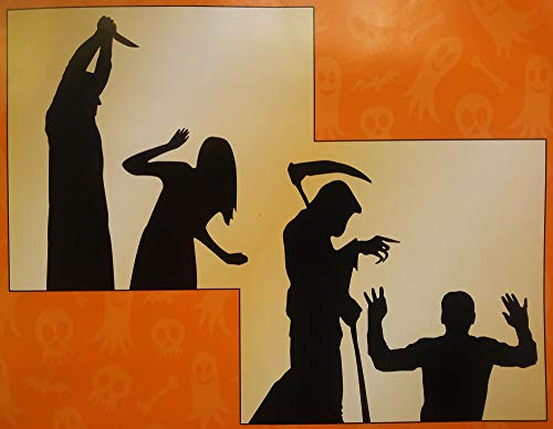 Scary Halloween Silhouettes (SpookyHome Scary Reaper and Killer Window Silhouette Scenes Halloween Decorations - Includes)