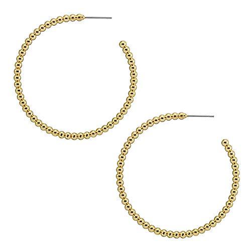 Earrings 14k C-hoop Gold (Gold Hoop Earrings,14K Gold Plated Bead Open Circle Hoop Earrings for Women Girls Sensitive Ears Stud Hypoallergenic C Shape Hoops (Bead C Hoop 50mm))