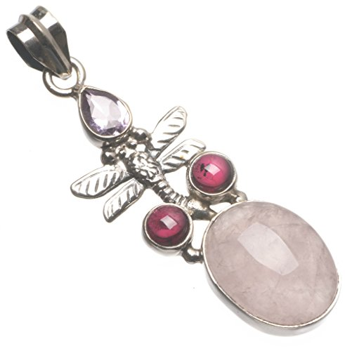 Natural Rose Quartz and Amethyst Dragonfly Handmade Vintage 925 Sterling Silver Pendant 2