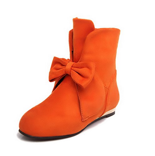 AllhqFashion Womens Low Heels Frosted Low-top Solid Pull-on Boots Orange pNwchzQZrU