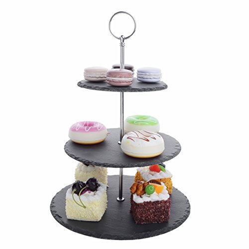 Malacasa 3-Tier Natural Slate Cake Stand, Round Stone Slate Tea Party Server Serving Set with Silver Carry Handle (3 Slate)