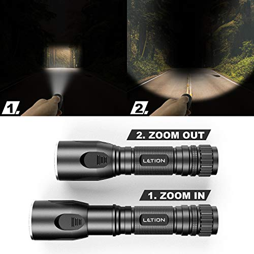 LETION Led Torch Rechargeable Torch Powerful Flashlight 1200 Lumens 2200mAh Mini Torch with 5 Modes IPX4 Waterproof for Camping Outdoor Dog Walking Night Running