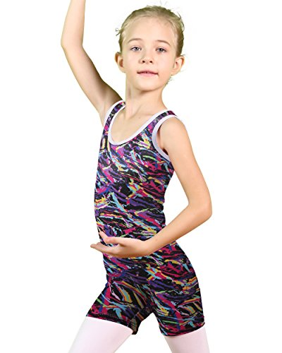 BAOHULU Sparkle Dancing Hiking Biking Gymnastics Leotards for girls 4-11 Years (130(Recommended age 7-8Y), Multicolor) Complete Body Unitard