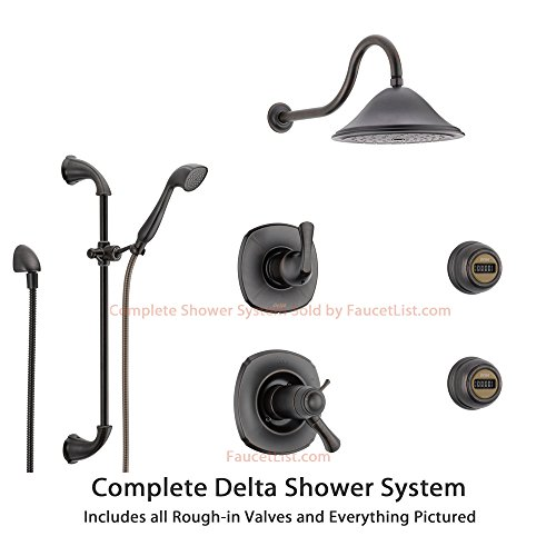 Delta Addison Venetian Bronze Shower System with Thermostatic Shower Handle, 6-setting Diverter, Large Rain Showerhead, Hand Shower, and 2 Body Sprays SS17T9293RB Delta Faucets