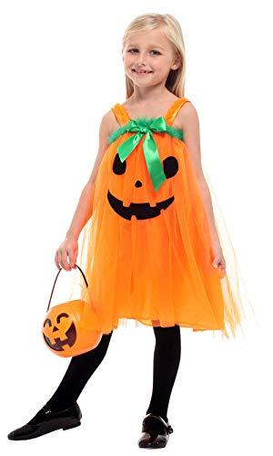 Girls Halloween Pumpkin Dress Costume Princess Outfit Orange(4/5) ()