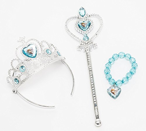 iPrincess Disney Frozen Tiara Crown ,Wand and Bead Bracelet Gift Set with Bonus Bracelet Making Kit]()