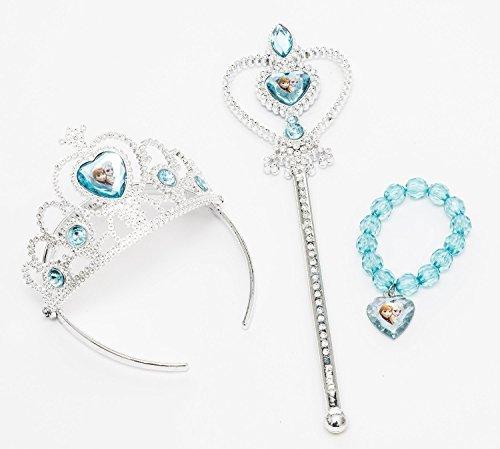 iPrincess Disney Frozen Tiara Crown ,Wand and Bead Bracelet Gift Set with Bonus Bracelet Making Kit ()