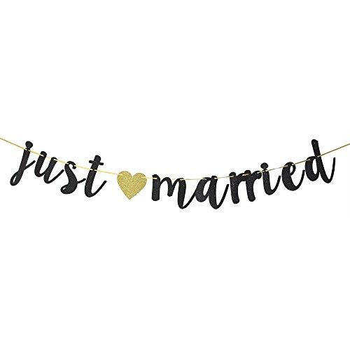 Black Glitter Just Married Banner - Just Married Sign - Wedding Banner - Bridal Shower Bachelorette Party Decoration Supplies]()