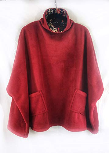 (Poncho, Red plush anti pill fleece poncho with accent vibrant knit cowl neck and two patch pockets. Size fits most.)