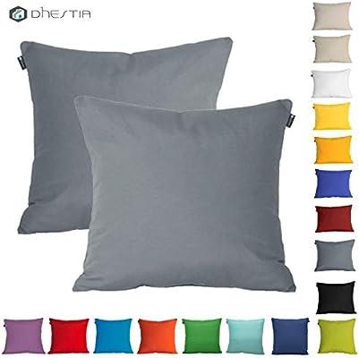 Dhestia Pack X 2 Fundas Cojines Decoración Sofá Y Cama 45X45 Cm Loneta Colores (Gris Gray Marengo), 45 X 45 Cm: Amazon.es: Hogar