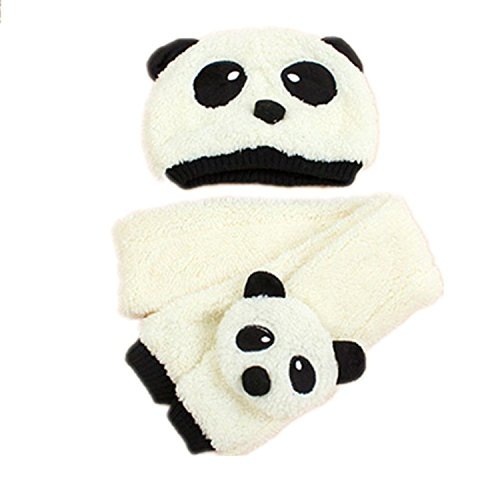 BuyHere Unisex-Baby Panda Cap with Scarf Set,Off-white ()