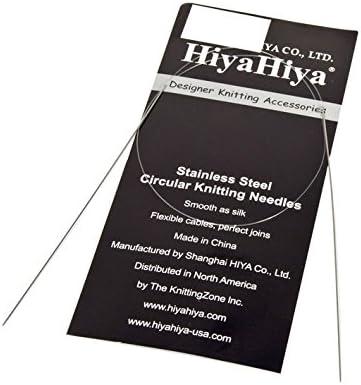 HiyaHiya Kit daiguilles 24// 60 cm x 1 mm en acier inoxydable pour aiguilles circulaires fixes