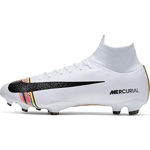 Nike Men's Mercurial Superfly 6 Pro LVL UP FG Soccer Cleat (Sz. 9.5) Pure Platinum, Black, White