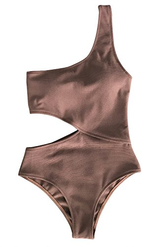 CUPSHE Women's Candy Rain One Shoulder One-Piece Swimsuit Bathing Suit (Small (USA 4/6), Coffee)