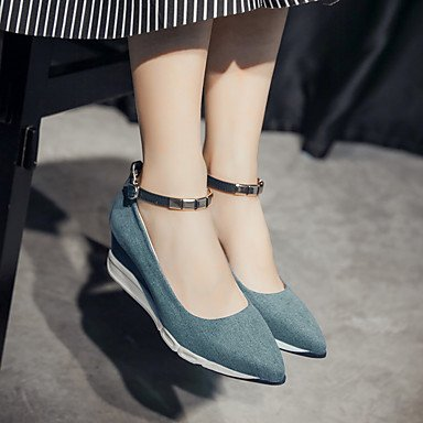 Casual eu35 Chunky uk3 us5 Boots cn34 Mary PU LvYuan Winter Heel ggx Women's blue Jane O8Pq07w