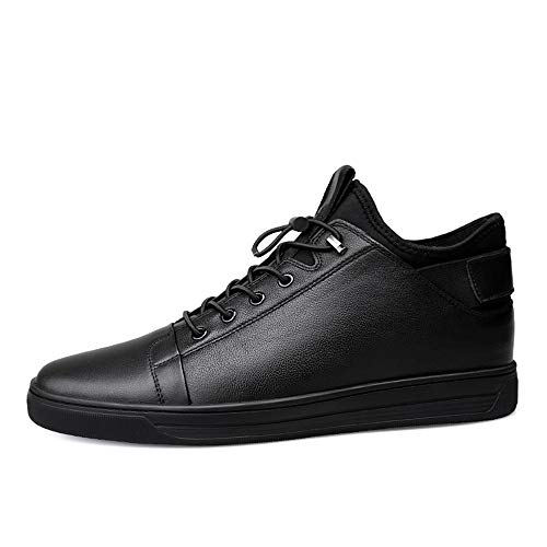(Hilotu British Style Men's Winter Sneaker Shoes, Casual and Soft Fleece Inside Sport Shoes Lace Up Easily (Conventional Optional) (Color : Black, Size : 8.5 D(M) US))