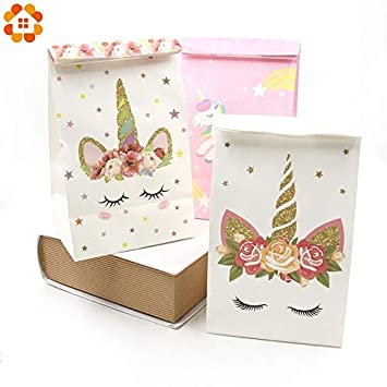 Tyro 6PCS White Pink Unicorn Paper Bag DIY Birthday Party Decorations Kids Gift