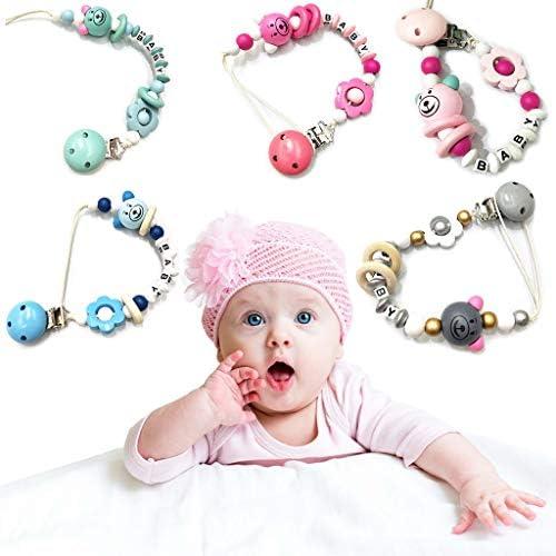 Mentin Attache Sucette pour Bebe Clip Attache T/étine Perles de Florales Accroche T/étine Bebe Chaine pour Sucette Jouet de Dentition Rose
