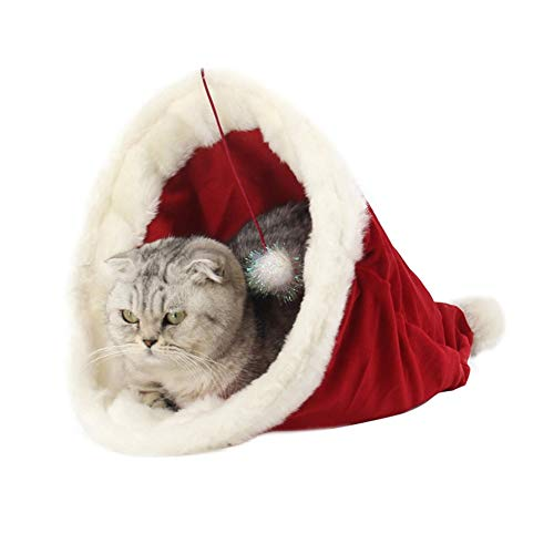 - ROZKITCH Christmas Hat Shape Dog Kennel Soft Warm Short Plush Xmas Cat House Cat Cave Bed Cage Nest Small Cats Dogs