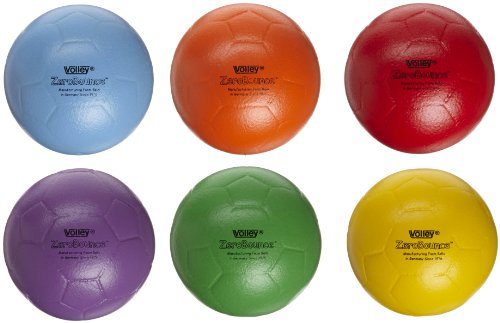 Volley ZeroBounce Indoor Soccer Ball - 8 1/4 inch - Set of 6 - Assorted Colors by Volley