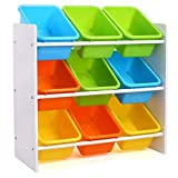 Homfa Toy Storage Unit with 9 Plastic Bins Boxes for Children Room Multicolor