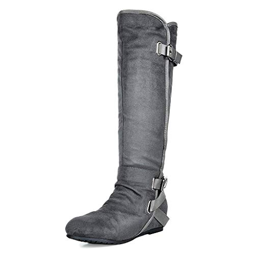 DREAM PAIRS Women's New Akris Grey Hidden Wedge Knee High Boots Size 8 B(M) US