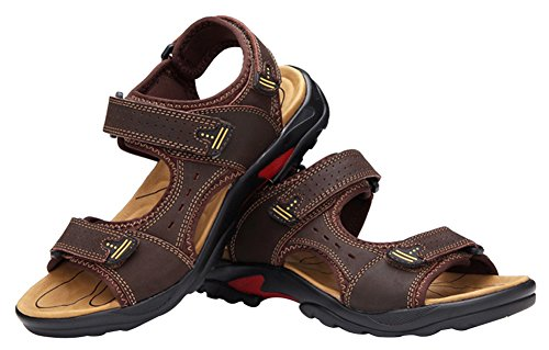 Agowoo Mens Sandles Hook And Loop Outdoor Strand Sandalen Dark_brown
