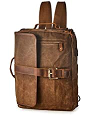 "BRASS TACKS Leathercraft Men's 15""Laptop 4-in-1 Messenger Backpack"