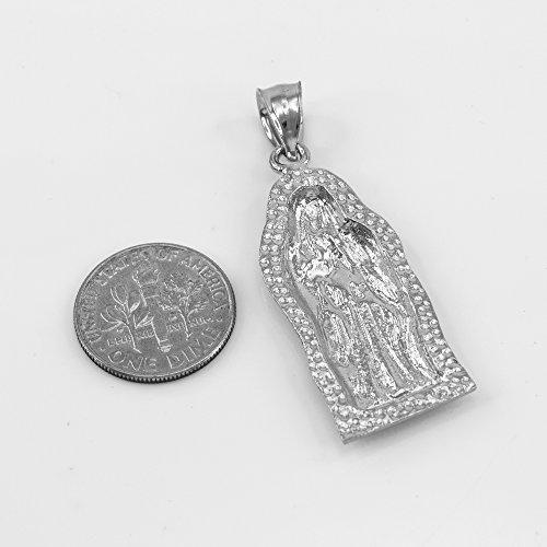 Collier Femme Pendentif 14 Ct Or Blanc Guadalupe (Petit) (Livré avec une 45cm Chaîne)