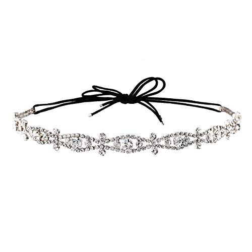 A+O Silver Crystal Headband Hair Piece with Elastic for updo - One size]()
