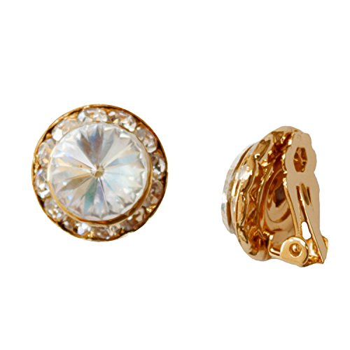 Gold Plating Element Crystal Rhinestone 15mm Rondelle Circle Round Shape Clip Earring