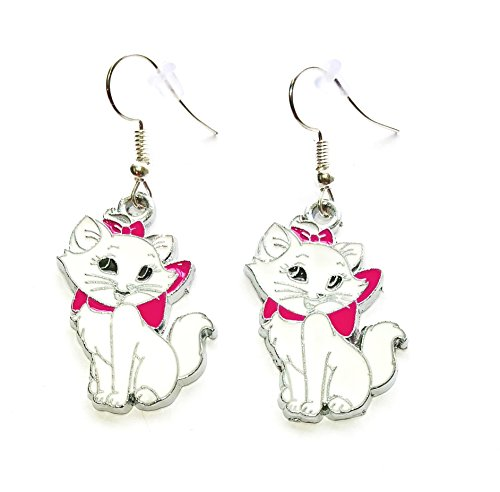 Disney inspired Aristocats Marie Cat Kitty Charm Cartoon Character Dangle Hook Earrings With Gift ()