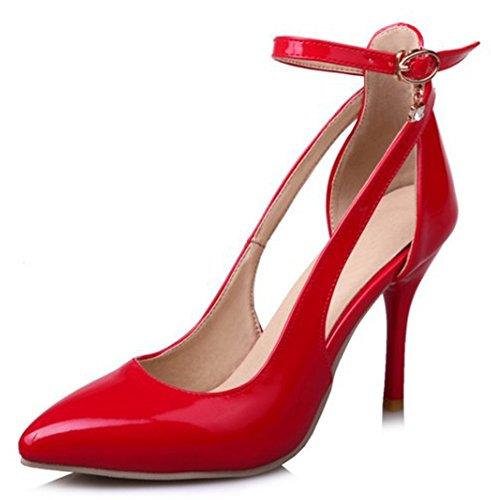 Idifu Kvinna Sexig Spetsig Tå Urholka Höga Stilettklackar Ankelbandet Pumpar Röd