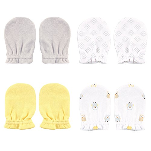 luvable-friends-baby-scratch-mittens-4-pack-yellow-owl-0-6-months