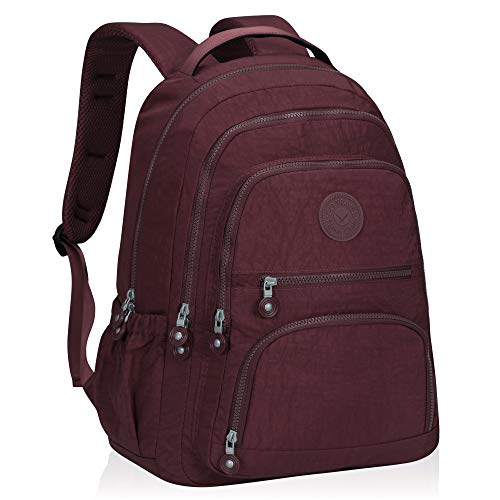 Hynes Eagle School Backpack Student Casual Daypack Laptop Backpack Fits 15.6 inches Wine Red