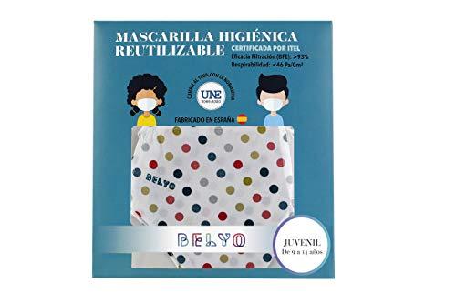 """41sJgUqz5zL Mascarilla higiénica reutilizable certificada y homologada con normativa UNE0065:2020. Certificada por ITEL (Instituto Técnico Español de Limpieza). Eficacia de filtración >93% (""""Ensayo BFE"""") y de Respirabilidad >46 Pa/cm2 (Presión diferencial). Tejido hidrofobo y anti bacteriano. Mascarilla compuesta en un 65% algodon, 35% polyester, lavable (hasta 20 lavados a 60 grados con jabon neutro), cómoda y segura"""