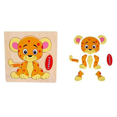 Dreamyth Wooden Leopard Puzzle Educational Developmental Baby Kids Training Toy (9)