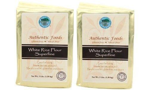 Authentic Foods White Rice Flour Superfine 3lb 2 Pack