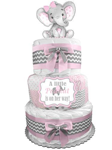 Diaper Cakes Centerpieces - Elephant Diaper Cake - Girl Baby